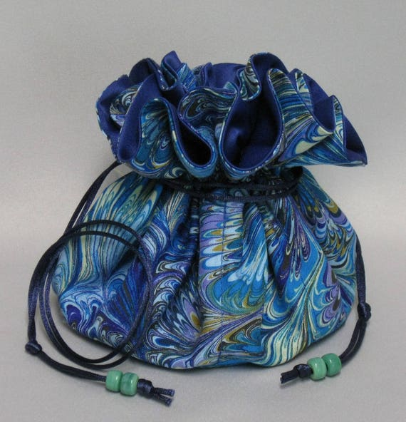Jewelry Travel Tote---Multi-Color Abstract Design ---Drawstring Organizer Travel Pouch---Eight Pockets---Large Size