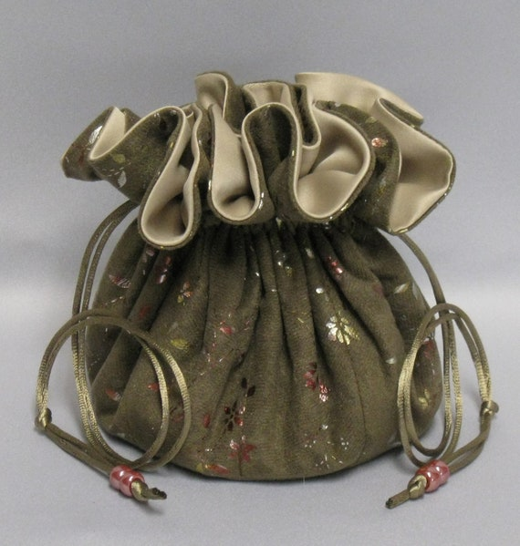 Jewelry Travel Tote---Large Size---Eight Pocket Organizer Pouch---Brown with Gold Foil Soft Suedecloth