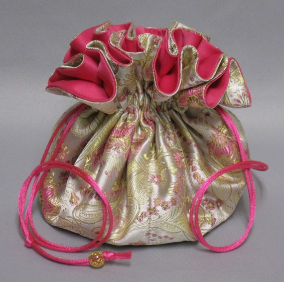 Jewelry Travel Tote---Satin Brocade Drawstring Organizer Pouch---Paisley Floral Design---Eight Pockets---Large Size