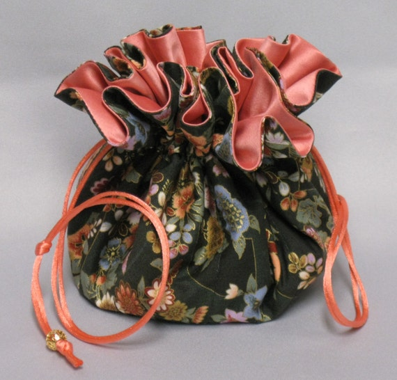 Jewelry Tote---Drawstring Organizer Travel Pouch---Oriental Floral Design---Large Size