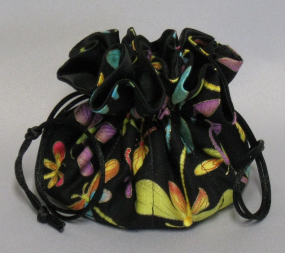 Jewelry Drawstring Travel Tote---Dragonflies Organizer Pouch-----Regular Size