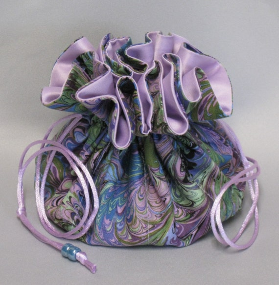 Jewelry Tote---Multi-Color Abstract Design---Drawstring Organizer Travel Pouch---Large Size---Choose Your Satin Color