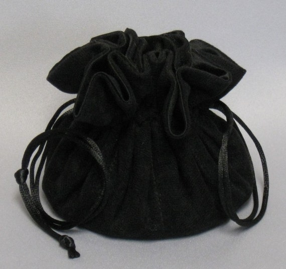 Black Soft Suedecloth Jewelry Travel Tote--Drawstring Organizer Pouch--Regular Size