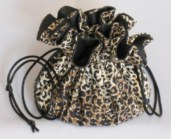Leopard Print---Jewelry Drawstring Travel Tote---Organizer Pouch--Medium Size