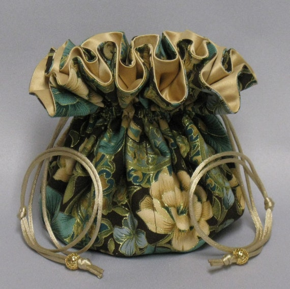 Jewelry Drawstring Travel Tote---Beautiful Floral Organizer Pouch-----Eight Pockets---Large Size----Choose Your Satin Color!