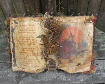 Primitive Folk Art Witch's Spell Book