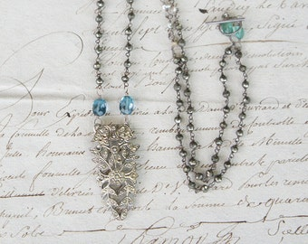 Antique Assemblage Vintage Revival Necklace with French Paste Dress Clip Pendant London Blue Topaz and Pyrite