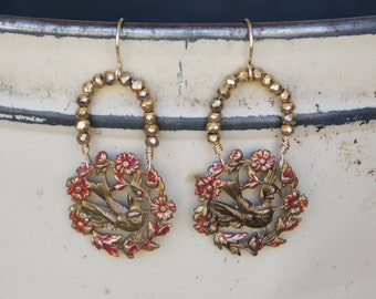Antique Assemblage Earrings with Birds and Pyrite