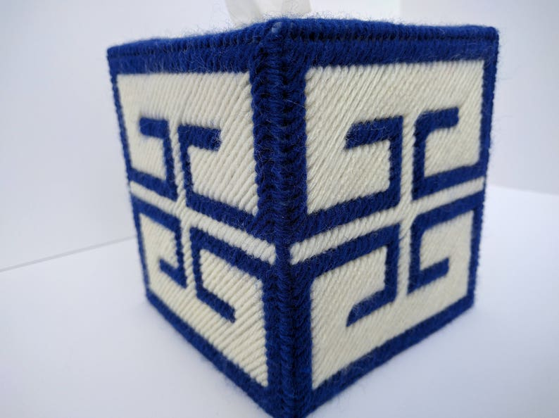 Greek Key Pattern Tissue Box Cover Blue Gold Red image 0