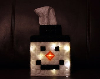 Christmas Decoration Snowman Light-Up Tissue Box Cover