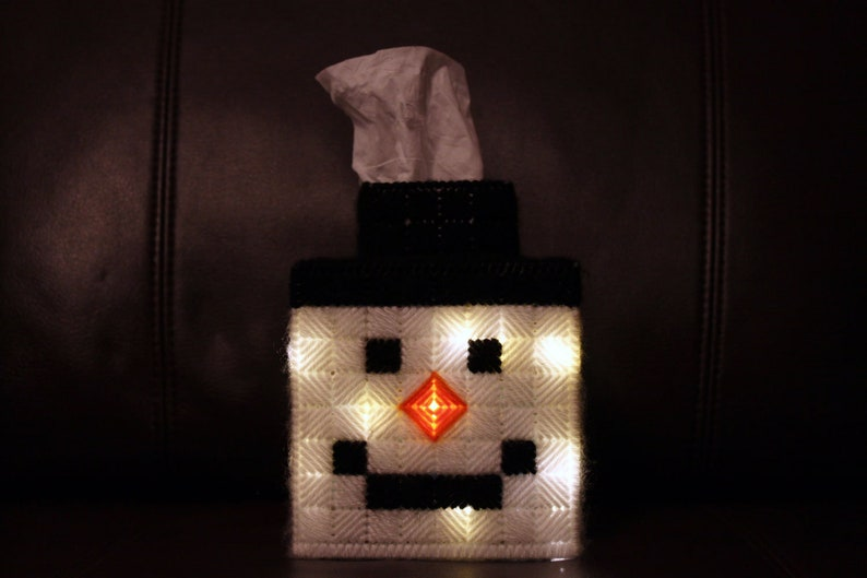 Snowman Tissue Box Cover Lights  Up image 0