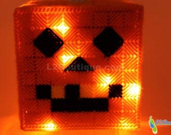 Pumpkin Tissue Box Cover Light-Up Halloween