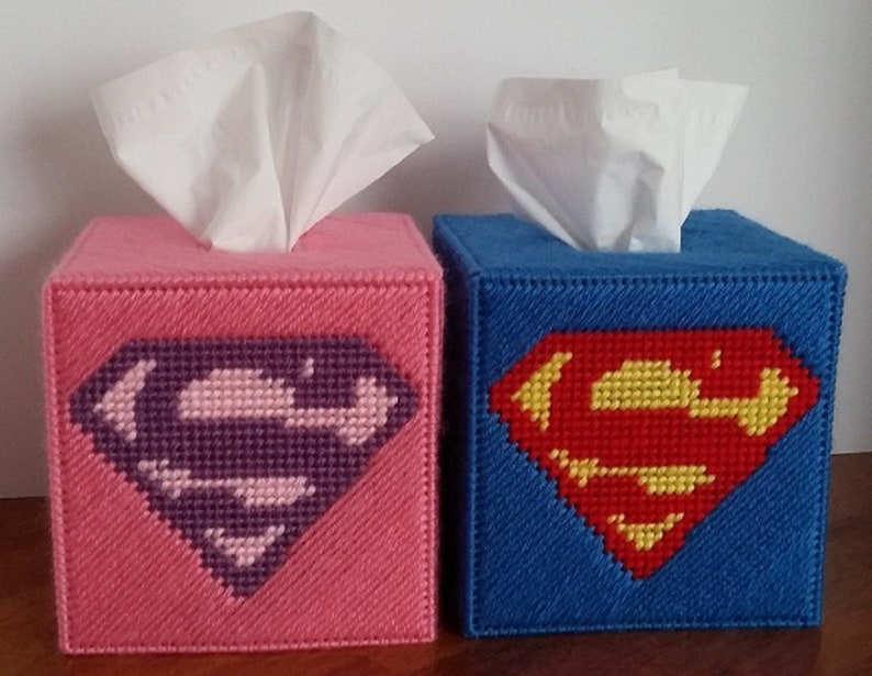 Superman Inspired Tissue Box Cover In Blue Or Pink image 0