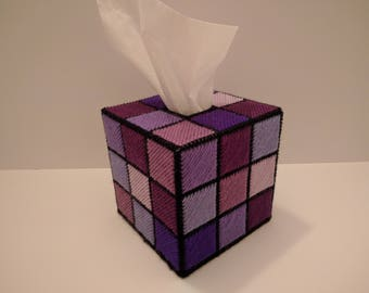 Rubik's Cube Tissue Box Cover All in Purples or Greens