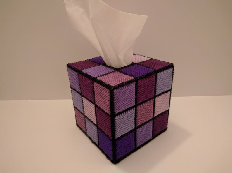 Rubik's Cube Tissue Box Cover All in Purples or Greens image 0