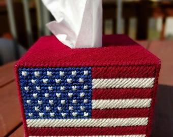American Flag Tissue Box Cover