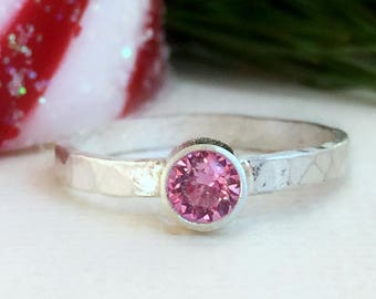 Sterling Silver Hammered Ring - Pink - Cubic Zirconia Hammered Ring - Pink Diamond Ring - Pink CZ Ring - Gifts For Girl friend