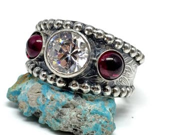 Western Wedding Ring - Red Garnet - Wedding Ring - White CZ Ring For Women -Garnet Engagment ring