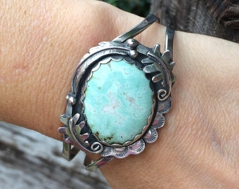 Gemstone Cuff Bracelet, Blue Green Variscite , Bohemian jewelry for women, Fall Jewelry