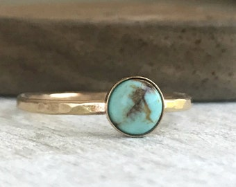 Turquoise Ring - Gold - Stackable Ring - Gemstone Ring - Real Turquoise Stacking Ring for Women