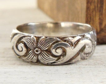 Wide Wedding Ring - Silver Wedding Band - Sterling Silver wedding Ring - Floral Wedding ring for Her - Wide ring for women