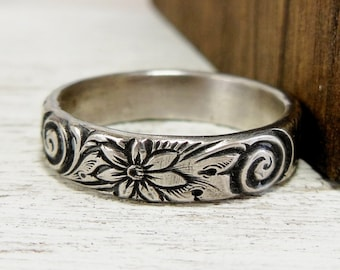 Sterling Silver Floral Ring- Swirl Pattern Ring- Sterling Silver Wedding Band- Jewelry for Women