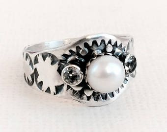 Pearl Engagement Ring, White, Sterling Silver, Western Ring for Women, White Topaz and Pearl Ring, Boho Style Western Ring