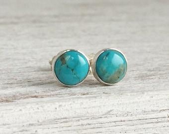 Turquoise Stud Earrings - Sterling Silver Stud Earrings - Real Turquoise - Gemstone Post Earrings