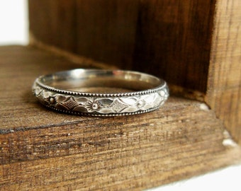 Personalized Ring, Secret Message Ring, Sterling Silver Ring Diamond Floral Stacking Ring Custom - Silver Wedding Band