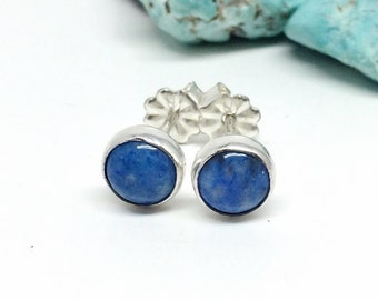 Blue Stud Earrings, Denim Lapis, Sterling Silver Studs, Gift for Her, Small Blue Studs, Earrings For Women