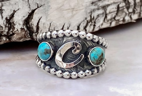 Turquoise Initial Ring - Sterling silver - Western Ring - Unisex - Turquoise Brand Ring - Turquoise jewelry
