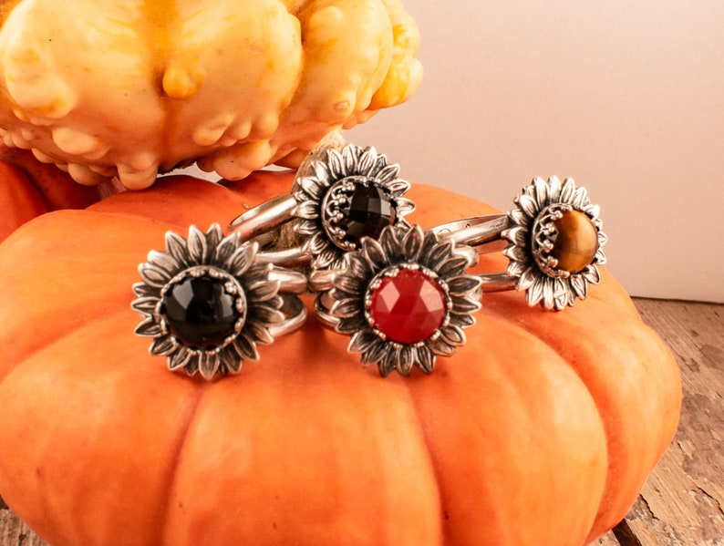 Sterling Silver Gemstone Rings Fall Jewelry for women Sunflower Ring with Gemstone
