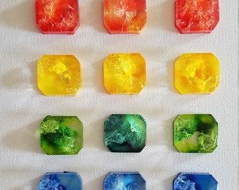 Decorative Accent set of 7 - Rainbow Color Decorative Gemstone - Rainbow Decorative Magnet - Office Magnet - Kitchen Magnet - Photo Magnet