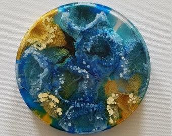 Resin Art Ocean and Sand, Resin Art Painting Blue and Beige, Resin Art Round Blue Beige, Resin Petri - Set of 4