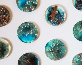 Resin Wall Art Ocean Blue, White Bronze, Resin Art Painting Blue White & Bronze, Resin Art Round Blue White Bronze, Resin Petri - Set of 9