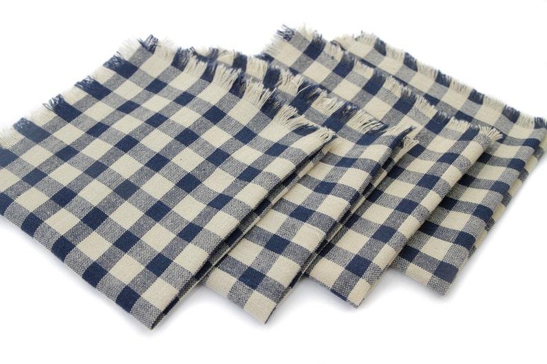 Cloth Napkins  Navy/Beige Gingham image 0