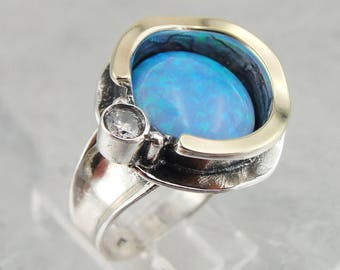 Great 9k Yellow Gold and 925 Sterling Silver round Opal Band Ring size 7, Birthday gift, October birthstone, Blue stone ring, Everyday (958