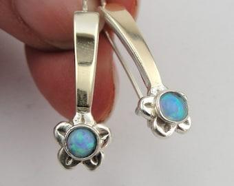Long Opal Earrings, Handmade 9k Yellow Gold 925 Sterling Silver Opal Hanging Earrings, Blue Opal Earrings, Gold Earrings,