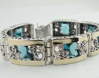 Blue Topaz Silver Bracelet, Handcrafted Yellow Gold 925 Sterling Silver Bracelet, Blue Stone, silver gold bracelet, women bracelet (s b1658