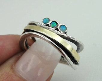 Handmade Wedding band, 925 sterling Silver and 9k yellow gold ring, Opal ring, size 7, Blue Opal Ring, 9K Gold Ring,  Opal Jewelry (ms r1461