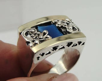Silver Filigree Sapphire Ring, Silver and Gold Ring, Yellow Gold Sapphire Ring, Size 8, Blue Stone, Birthstone, Birthday, Gift (s 1658