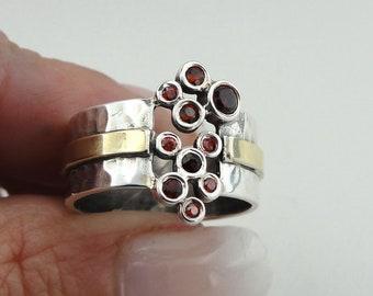 Garnet Ring, 9K Yellow Gold Silver Garnet Ring size 7, Red Stone Ring, Gold Ring, 9k Garnet Gold Ring, Wide band, wedding band (ms r1302)