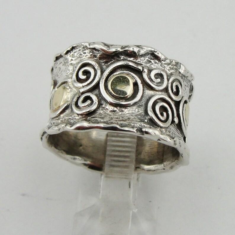 f1c5f388f 925 Sterling Silver & 9k Yellow Gold Handmade Spiral Ring | Etsy