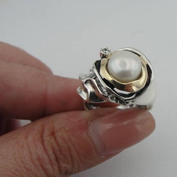 Pearl Ring ~ Celestial Ring ~ Minimal Pasiphae Ring ~ Sterling Silver 925 White Pearl Ring ~ Gold Pearl Ring