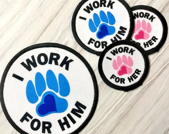 Im Working for HER 3 Sew On Patch Service Disability Dog Pink Paw Print