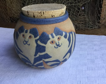 Barbara Pateras Studio Pottery Jar Cats