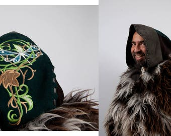 Larp large leather hood elf warcraft cosplay Game of Thrones brown green costume medieval huntsman fur ranger druid sca dragonfly embroidery
