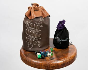 Large leather dice bag rpg gamer Pen is Mightier embroidery larp pouch tabletop dungeons dragons geek nerd gift costume accessory pathfinder