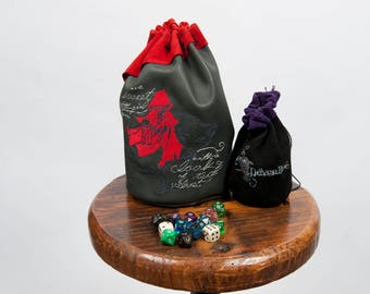 Large leather dice bag rpg gamer dark red riding hood wolf embroidery larp pouch tabletop dungeons dragons geek nerd gift costume accessory