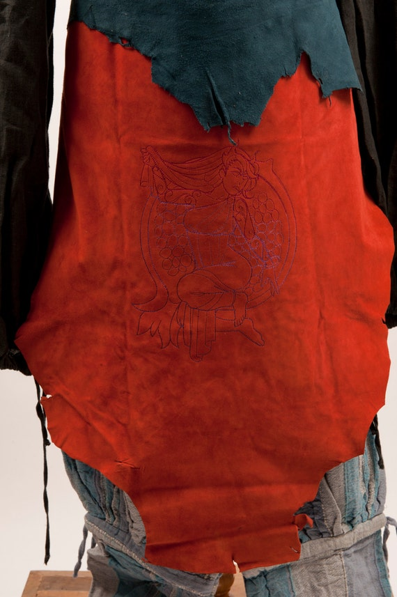 pantheon embroidery battleskirt larp Brownish greek 125 banner apron was costume style fair fantasy leather armor pomegranate red Persephone UUxFY